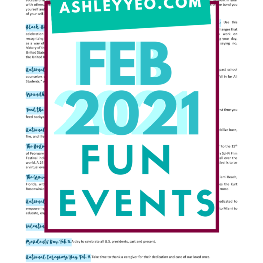 Events Calendar Printables For February 2021