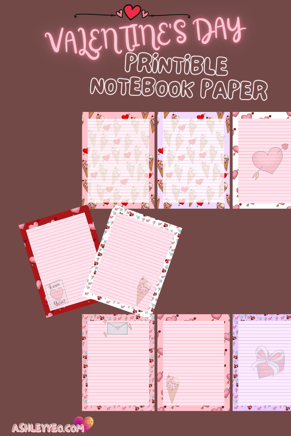 Valentine's Day Printable Journal Pages, Planner Pages, Notebook Pages