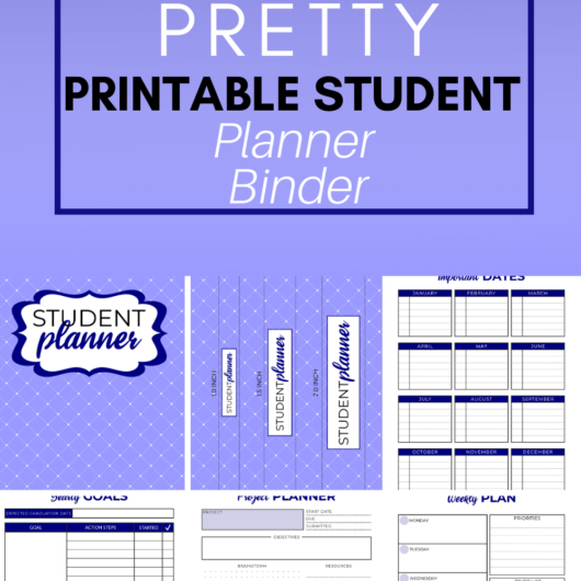 Pretty Printable Student Planner Binder