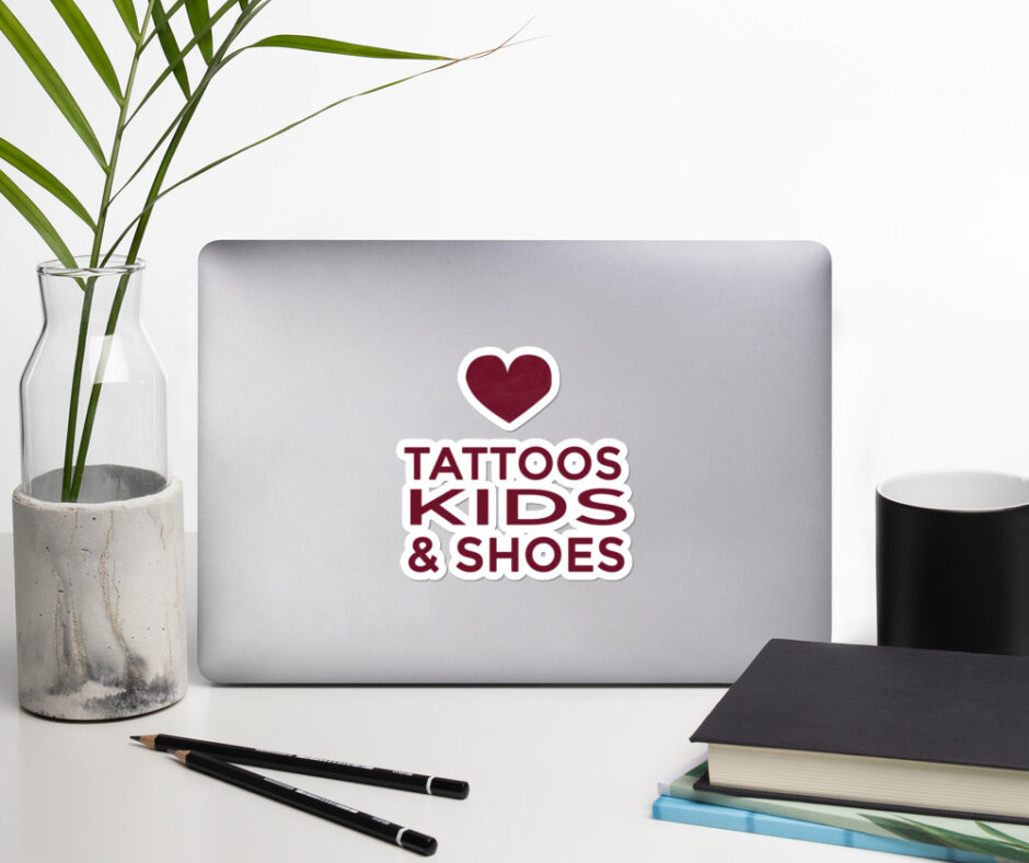 I Love Tattoos Kids And Shoes Sticker