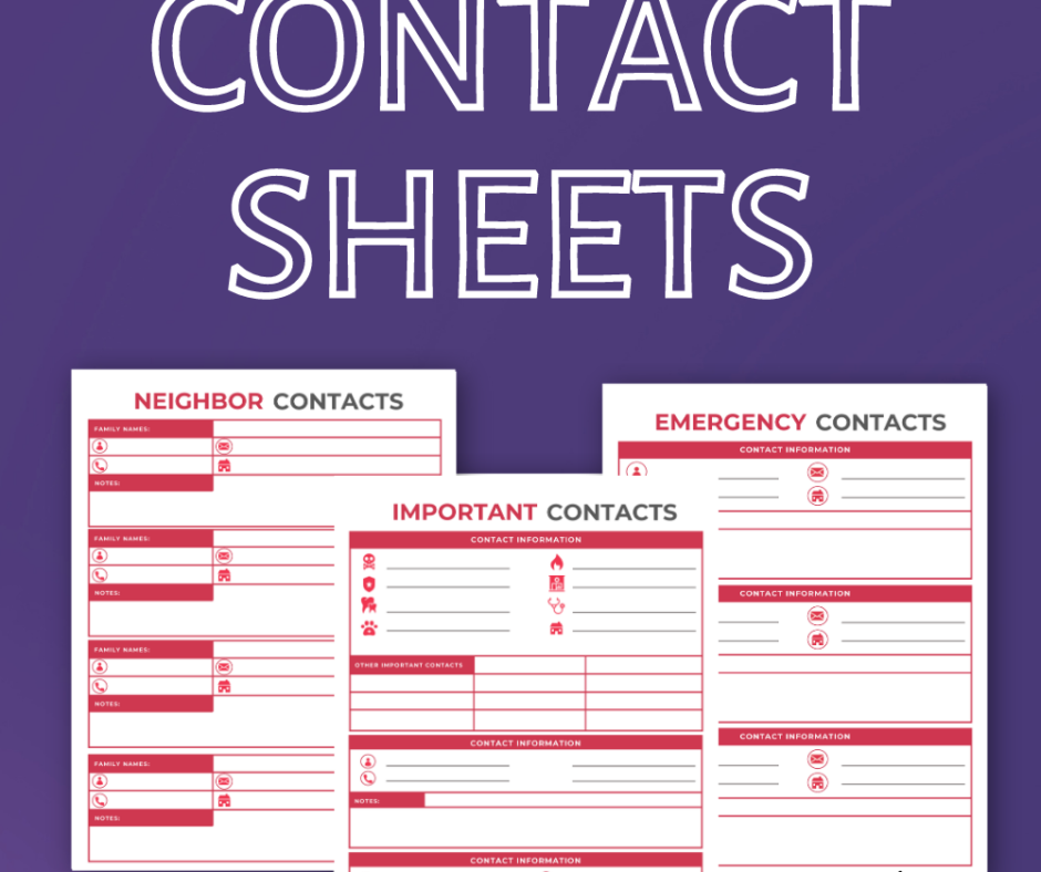 Pretty Printable Contact Sheet For Cute Planners