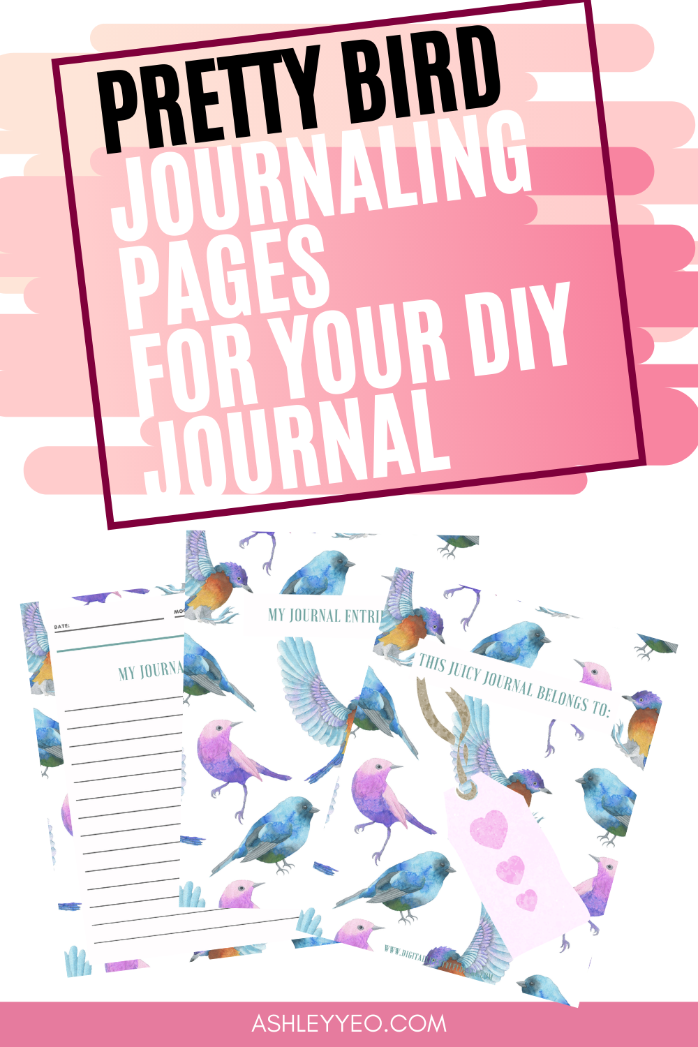 Pretty Bird Journaling Pages For Your DIY Journal Or Notebooks