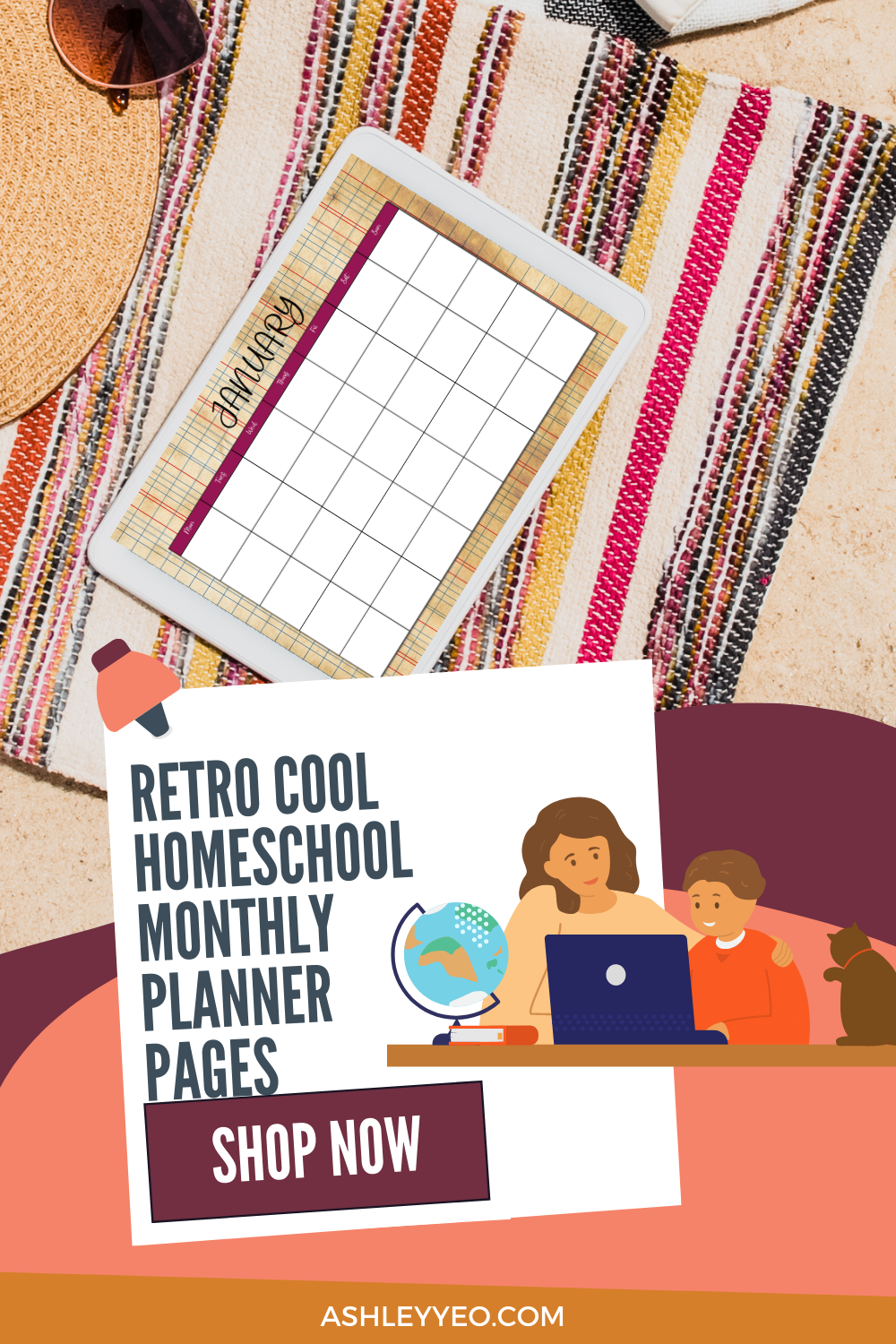 Retro Horizontal Homeschool Planner Monthly Planning Pages